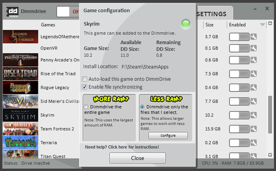 Screenshot 3 of Dimmdrive :: Gaming Ramdrive @ 10,000+ MB/s